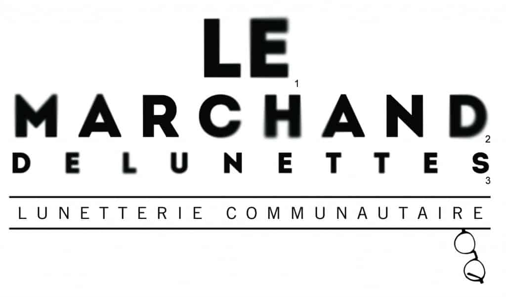 logo : Le Marchand de lunettes - Lunetterie communautaire. Une petite paire accrochée au bas de la seconde phrase.